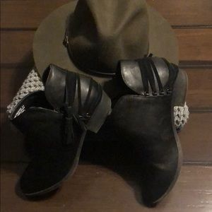 Black Faux Leather Booties 9.5